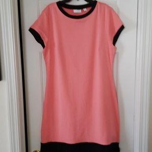 Coral w/black Tee shirt dress